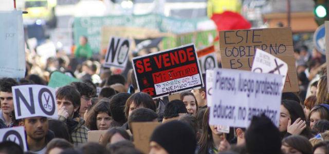 Manifestación de la 'marea verde', el pasado 7 de febrero, en Madrid. JAIRO VARGAS